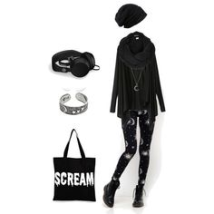 A fashion look from November 2014 featuring asymmetrical top, patterned leggings and lightweight tote. Browse and shop related looks.