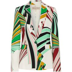Emilio Pucci Printed stretch-twill blazer ($2,420) ❤ liked on Polyvore featuring outerwear, jackets, blazers, green, tailored jacket, slim blazer jacket, emilio pucci jacket, slim jacket and green blazer