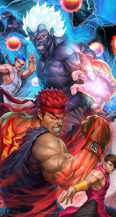 Oni Akuma and Evil Ryu (Street Fighter) by Stanley Lau Ryu Street Fighter, Capcom Street Fighter, Super Street Fighter, Playstation, Xbox 360, Street Fighter Characters, Super Anime, Street Fights, Art Japonais