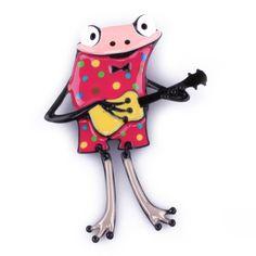 Broche grenouille à guitare rose pois multicolores