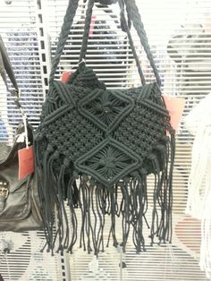 Target macrame bag. Do this to my black crossbody bag!