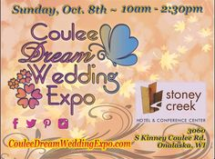 Now accepting vendors for the 4th~ Coulee Dream Wedding Expo Sunday, Oct. 8th from 10am-2:30pm at Stoney Creek Inn, Onalaska, WI. Overview Pricing & Info, also Vendors sign up at: a2zsocialdesign.com/vendor-registration Brides & Grooms register at: CouleeDreamWeddingExpo.com Local Events, Invite Your Friends, Dream Wedding, Invitations, Grooms, Send Message, Wisconsin, Badge, Brides