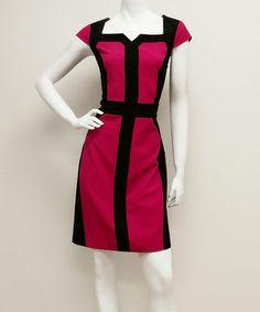 Look what I found on #zulily! Fuchsia & Black Cap-Sleeve Sheath Dress #zulilyfinds