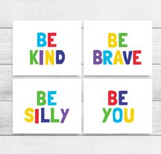 Kids Printable Art: Be Kind, Be Brave, Be Silly, Be You, Set of 4, Kids Quote Prints, Kids Playroom Art, Classroom Prints *INSTANT DOWNLOAD* Playroom Rules, Playroom Art, Kids Room Wall Art, Nursery Wall Art, Printable Classroom Posters, Printable Wall Art, Art Classroom, Printing Websites, Kids Prints