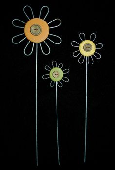 Set of 3 Wire & Wood Flower Stakes / Picks w/ Buttons ---  adorable