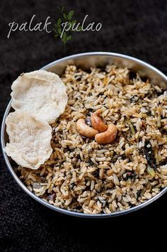 Palak Pulao Recipe - Indian Spinach Rice - Step by Step Recipe