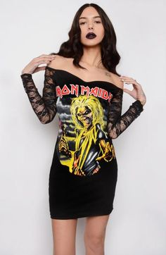 Custom made Iron Maiden Off- Shoulder Lace Dress! Altered from a black men's t-shirt featuring off-the-shoulder lace sleeves and a sweetheart neckline with bra