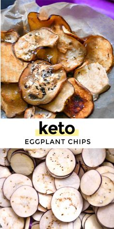 Eggplant Chips, Baked Eggplant, Atkins Recipes, Low Carb Recipes, Cooking Recipes, Gluten Free Sides Dishes, Low Carb Side Dishes, Healthy Baking, Healthy Snacks