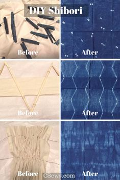 DIY Shibori - Indigo dyeing - before and after DIY shibori - indigo dye experiments - pleating, binding, basting muslin fabric, using clothespins and chopsticks for many different designs Fabric Dyeing Techniques, Tie Dye Techniques, Textiles Techniques, Tye Dye, How To Dye Fabric, Dyeing Fabric, Shibori Fabric, Tie Dye Crafts, Shibori Tie Dye
