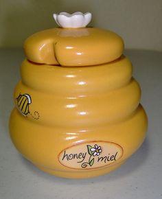 Honey Miel Honey Pot Bees Hive Jar