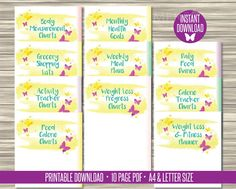 Diet, Exercise and Fitness Planner Journal Inserts. Pretty watercolour diary section dividers available as instant digital download as printable PDFs.