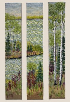 Large photo of Water & Birch Triptych by Jo Wood Jo Wood, Wood Art, Tapestry Weaving, Bead Weaving, Seed Bead Art, Pearl Crafts, Mosaic Rocks, Cross Stitch Landscape, Landscape Quilts