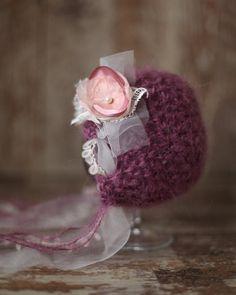 Purple Violet Mohair Newborn Hat Baby Girl от SmallandLovely