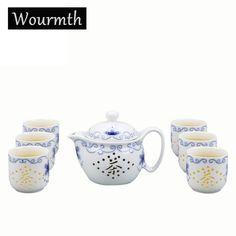 Wourmth 6pcs porcelaines noble China KungFu Tea Sets Porcelain Tea Pot Exquisite Tea cup Handmade Ceramics High Quality