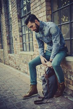 Sergeant Pepper Autumn/Winter 13 -- Tags: fall/winter, casual, beard, faded denim jacket, teal pants, chinos, brown leather boots, yellow shoelaces, backpack