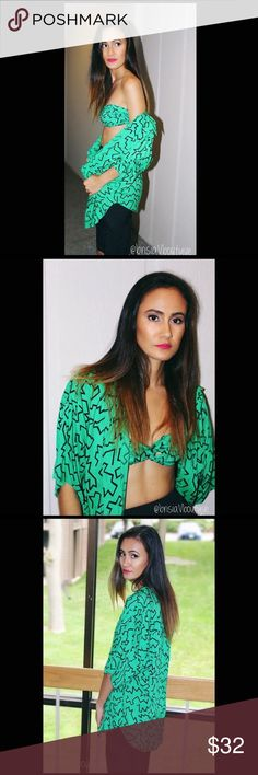 """Vintage green & black print bralette with blouse. This """"oh so cute vintage green & black print bralette and blouse, is to party all night in it"""" I know you can rock this 80s look with a touch of your personal style!! Unique Vintage Tops Crop Tops"""