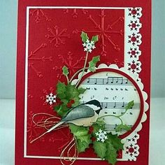 Snowflake Music paper chickadee Christmas card