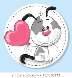 Illustration about Greeting card Cute Dog with pink balloon. Illustration of decoration, beautiful, pets - 68726992 Baby Animal Drawings, Cartoon Drawings, Easy Drawings, Cute Images, Cute Pictures, Emoji, Baby Animals, Cute Animals, Card Drawing