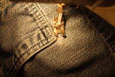 Mending holes in jeans.