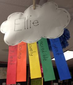 Rainbow poems- Cute Idea!  Have all the kids write their names in little papers, have them blindly pick out a paper (like secret santa).  Then have the kids write down a kind word about their classmates on each color.  Once they're done, have a little ceremony and gift them to one another!  Great little end of the school year project.  I <3 it!!!