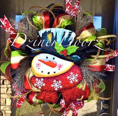 Glittered Snowflake Snowman deco mesh Wreath by DzinerDoorz, $125.00