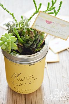 Create DIY mini gardens out of mason jar - great table idea for everyone to take home. have a box behind it to place it inside for the travel home.