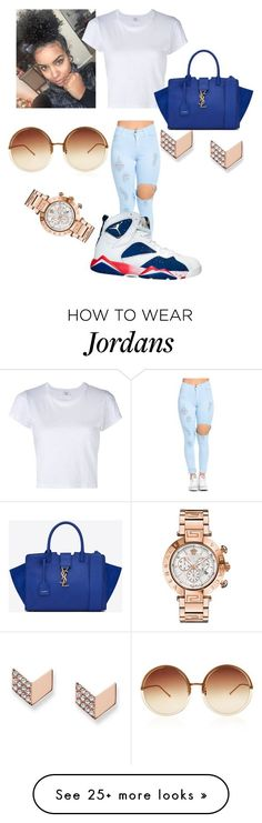 """Untitled #1"" by airyelle on Polyvore featuring RE/DONE, NIKE, Yves Saint Laurent, Linda Farrow, FOSSIL and Versace"