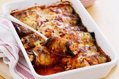 An abundant supply of farm-fresh produce needs a fresh recipe idea, like these baked cheesy eggplant rolls. Recipe by Kim Coverdale). Vegetarian Recipes Easy, Vegetarian Cooking, Raw Food Recipes, Food Network Recipes, Mexican Food Recipes, Cooking Recipes, Healthy Recipes, Ethnic Recipes, Entree Recipes