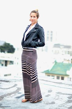Leather jacket to top off a striped skirt // Color Me Blue