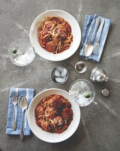 The perfect spaghetti and martini recipes for your next date night.