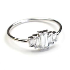 Diamond Engagement Ring Engagement Ring Baguette by NIXIN on Etsy