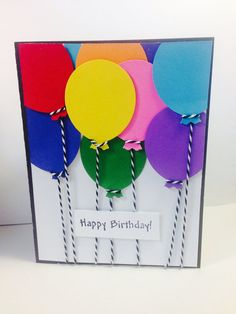 Birthday balloons with string greeting card