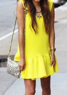 Three Floor yellow dress, Rebecca Minkoff studded purse, Alimonada + Albeit necklaces