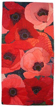 Vivacious Vermilion by Sue Siefkin art quilt Art Floral, Fruit Flowers, Flower Quilts, Quilt Modernen, Textile Fiber Art, Fiber Art Quilts, Thread Painting, Landscape Quilts, Illustration
