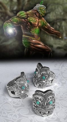 Maori Ring, New Zealand Tribal Warrior Ring, Handmade by Tuwharetoa Bone® God of War Warrior Ring, Tribal Warrior, Tiki Tattoo, Maori Tattoos, Skull Tattoos, Sleeve Tattoos, Frank Morrison Art, Maori Symbols, Tiki Man