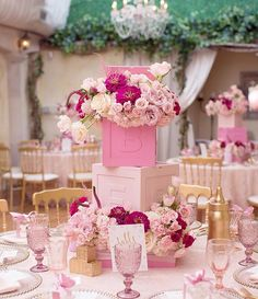 A chic #babygirl shower   #pretty #pink #abc blocks with #blush and #raspberry tone florals. Photo @melodymelikian @prettyposhparties @fancy_tables @ilcielobh @lb_fortune #flowers by #avantgardenevents