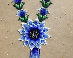 Flower necklace huichol, huichol jewelry, mexican jewelry, huichol Necklace, beaded necklace, beaded jewelry, large necklace, mexican art.