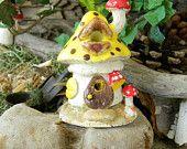Mushroom House Miniature  Little Clay Ceramic Glazed ..terrarium or Fairy Garden Home - Gnomes can live here too. $10.50, via Etsy.
