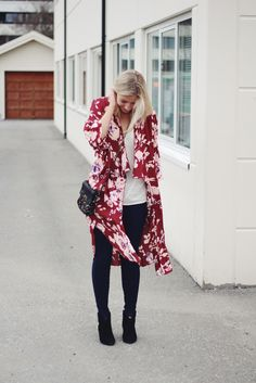 Floral kimono and jeans