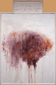 """Cy Twombly, Untitled (Analysis of the Rose as Sentimental Despair), panel V of V  Bassano in Teverina 1985  oil, oil/wax crayon, water-based paint, and pencil on canvas stapled to wood panel  gesso and oil/wax crayon on wood panel  71 1/4 x 44 1/8"""" (181 x 112.1 cm )  Cy Twombly Gallery, The Menil Collection, Houston (not in exhibition)"""