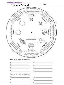 Planets Word Wheel: Printable Worksheet - EnchantedLearning.com