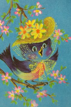 Sweetest bird illustration ever. Vintage congratulations card on etsy.