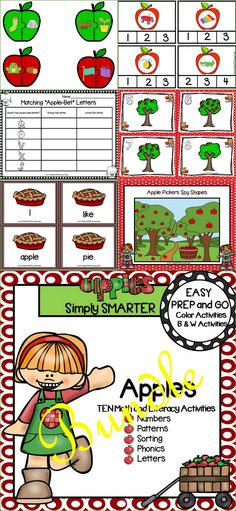 Are you looking for EASY PREP literacy and math activities for preschool, kindergarten, or first grade? Then enjoy this resource which is comprised of TEN APPLE themed activities complete with a combination of color and black and white activities.  The bundle includes a variety of activities such as clip cards, puzzles, I Spy game, write the room, and MORE!  The activities can be used for whole class fun, literacy and math centers, partner collaboration, individual practice, or homework!