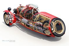 "https://flic.kr/p/qc391f | Morgan_Cutaway_Rear | Morgan 3 Wheeler - Super Sports // Rear Cutaway  A recent commission to re-work a series of my illustrations to match a clients Morgan, set to be displayed as large prints along side the car.  Changing body and wheel colour, steering wheel, exhaust, trim details and adding the 'Lindy' mascot.  See more similar work at - <a href=""http://www.dmj-illustration.co.uk"" rel=""nofollow"">www.dmj-illustration.co.uk</a>  Created using; 3Ds Max Vray…"