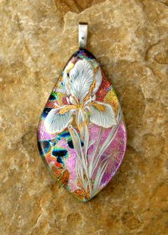 Dichroic Fused Glass Pendant Fused Glass Flower by GlassCat, $30.00 ....love this