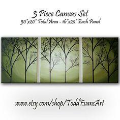 Silhouette Trees Huge 3 piece set Green avocado by ToddEvansArt, $220.00