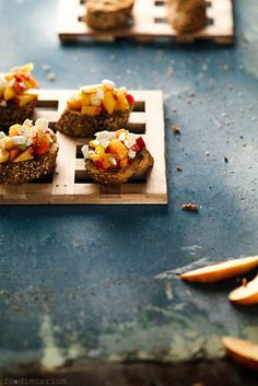 Crostini With Nectarines, Red Bell Peppers & Chili
