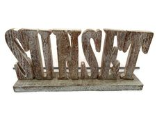 NEXT SUNSET FREESTANDING WOODEN CHUNKY SIGN PLAQUE ORNAMENT STAND