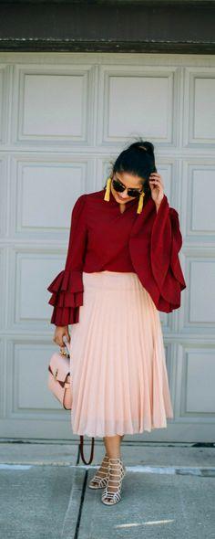 Bell Sleeve trend | dreamingloud.com ---------------------------------- Keystroke bell sleeve burgundy top, burgundy and pink outfit, steve madden caged heels, henri bendel top handle satchel, yellow tassel earrings, bell sleeve top, nude pleated midi skirt, leopard print sunglasses,madewell sunglasses