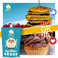 What's your breakfast bet with #EggsUp? Protein Pancakes or Protein Cupcakes? React Now! #EggsUp #Protein  Available at Bigbasket: http://bit.ly/2opMtpe